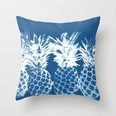Pineapple blues Throw Pillow