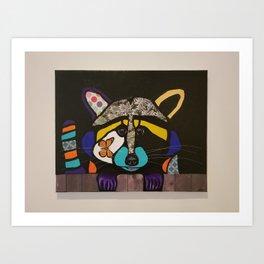 pop art raccoon Art Print