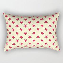 Crimson Red on Cream Yellow Stars Rectangular Pillow