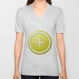 Yellow Plus Button Unisex V-Neck