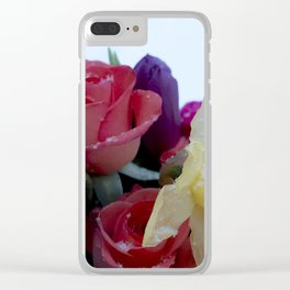 Vibrant bouquet of flowers in the snow Clear iPhone Case
