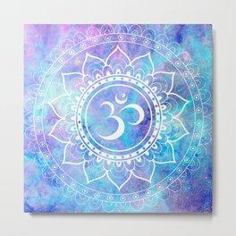 Om Mandala Pink Aqua Lavender Galaxy Space Metal Print