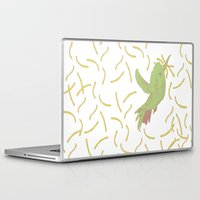 french fries Laptop & iPad Skins featuring Bird eat French fries by pexkung