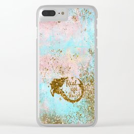 Faux Gold Glitter- REAL LIFE MERMAID On Sea Foam Clear iPhone Case