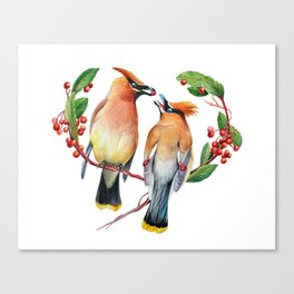 Cedar Waxwing Love Canvas Print