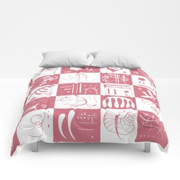 Kandinsky - White and Rose Pattern - Abstract Art Comforters