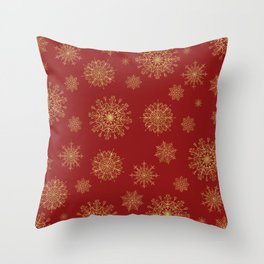 Assorted Golden Snowflakes Throw Pillow