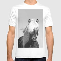 Portrait of a Horse in Scotish Highlands MEDIUM White Mens Fitted Tee