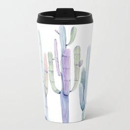 Minimalist Cactus Drawing Watercolor Painting Turquoise Cacti Metal Travel Mug