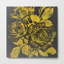 Rose In Gold Metal Print