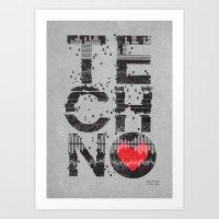 paramore Art Prints featuring I love Techno by Sitchko Igor