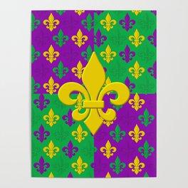 Mardi Gras Fleur-de-Lis Pattern Poster