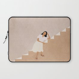 Girl Thinking on a Stairway Laptop Sleeve