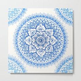 Yin Yang Mandala in Soft Blues Metal Print