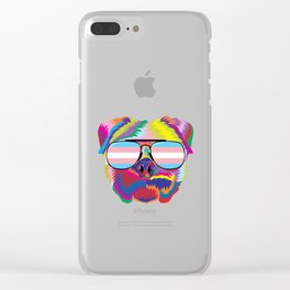 Gay Pride Transgender Psychedelic Pug Dog  design Clear iPhone Case