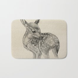 Animal Art | Deer Drawing | Nursery | Baby Room | Fawn | Bambi Bath Mat