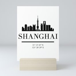 SHANGHAI CHINA BLACK SILHOUETTE SKYLINE ART Mini Art Print