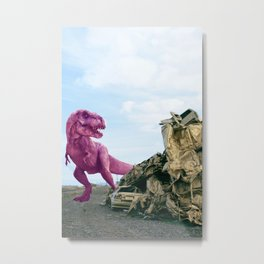 Pink and Gold Cars Metal Print