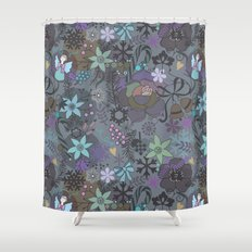 Colorful grey xmas pattern Shower Curtain