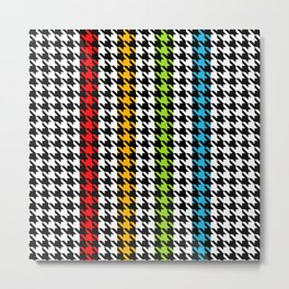 Houndstooth pattern and colorful stripes Metal Print