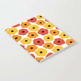 Mid Century Modern Poppy Flowers - Yellow, Orange, Red Notebook