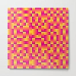 Yellow Pink Geo Pattern Metal Print
