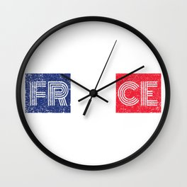 France Flag Vintage French Map Retro Gift Wall Clock