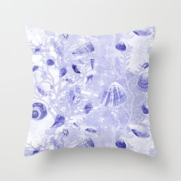 Shells - Deep Blue - Casart Sea Life Treasures Collection Throw Pillow