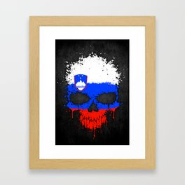 Flag of Slovenia on a Chaotic Splatter Skull Framed Art Print