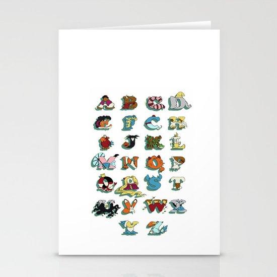 The Disney Alphabet - White Background Stationery Cards