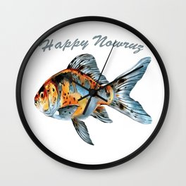 Happy Nowruz Shubunkin Goldfish Persian New Year Wall Clock
