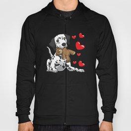 Dalmatian with stuffed animal and hearts Hoody
