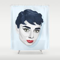audrey hepburn Shower Curtains featuring Audrey Hepburn by K I R A   S E I L E R