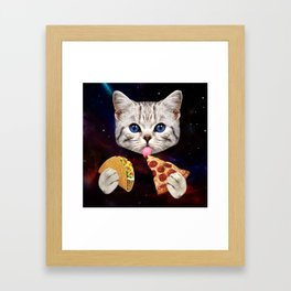 Space Cat with taco and pizza Framed Art Print