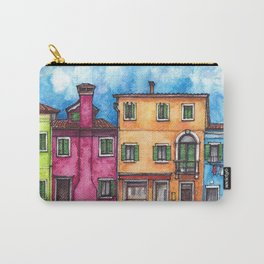 Burano ink & watercolor illustration Carry-All Pouch