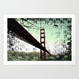 Vintage Green Golden Gate Bridge Art Print