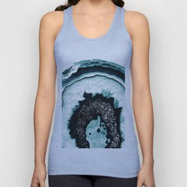 Icy Blue Agate with Black Glitter #1 #gem #decor #art #society6 Unisex Tank Top