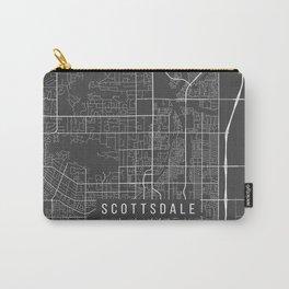 Scottsdale Map, Arizona USA - Charcoal Portrait Carry-All Pouch