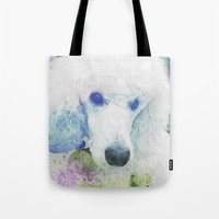 poodle Tote Bags featuring poodle by Sarah Jane Connors