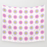 flower pattern Wall Tapestries featuring FLOWER PATTERN by Lulla