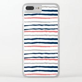 Minimal stripes painted stripe pattern navy modern trendy color palette nursery Clear iPhone Case
