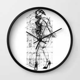 Lady and Geomertry Wall. Wall Clock