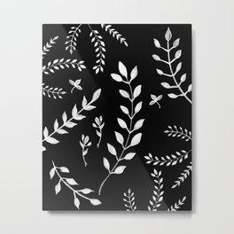 White Leaves Pattern #3 #drawing #decor #art #society6 Metal Print