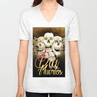 dia de los muertos V-neck T-shirts featuring Dia de los muertos by mrgarnica