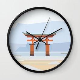 Floating torii, Itsukushina Shrine, Japan Wall Clock