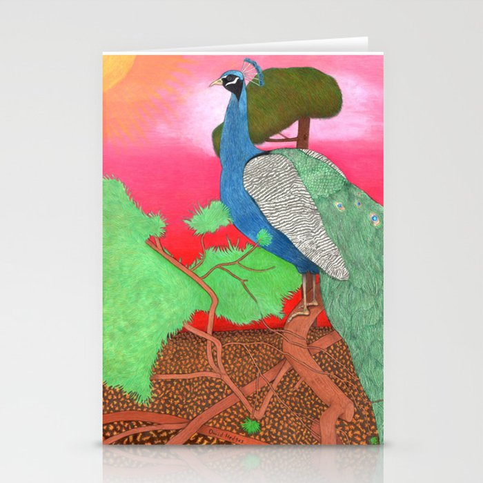 Peacock at sunrise Stationery Cards