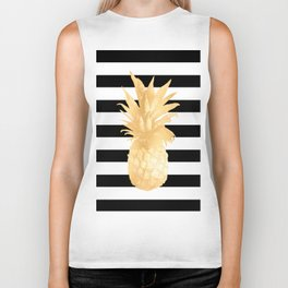 Gold Pineapple Black and White Stripes Biker Tank