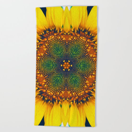 Structure of A Sunflower Beach Towel