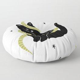 Black Cat Snake Floor Pillow