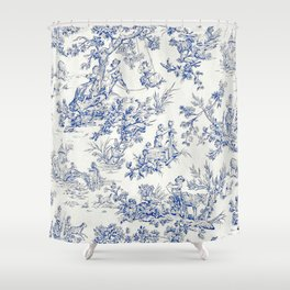 Blue French Toile Shower Curtain